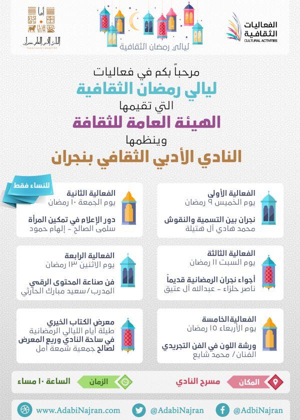 فعاليات ليالي رمضان الثقافية